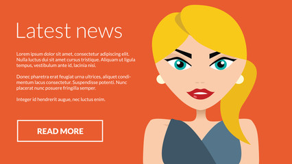 News with woman presenting information. Vector concept