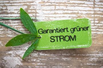 Garantiert grüner Strom Label