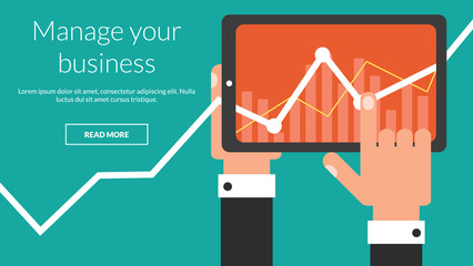 Business tablet with stock chart as a app. Vector advertising