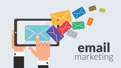 Business tablet with email marketing. Vector online advertising