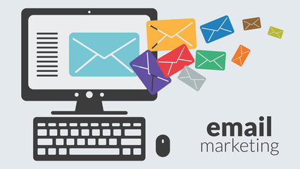 Business computer with email marketing. Vector advertising