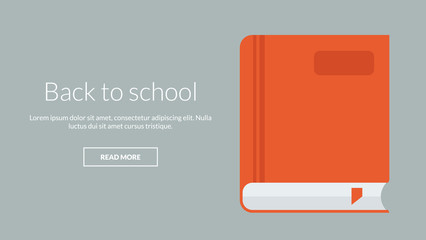 Back to school with book. Vector online advertising