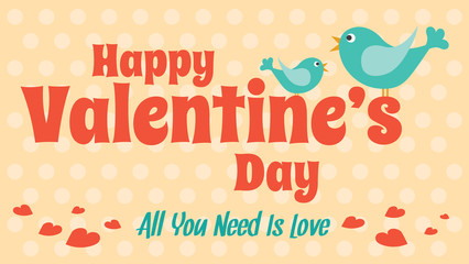 Love card for Valentine's Day, Vector cute style design