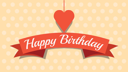 Love card for Birthday with heart, Vector illustration