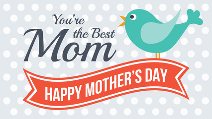 Love card for Mother's Day, Vector cute style design