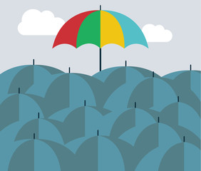 Concept of leader. Different umbrella over many others