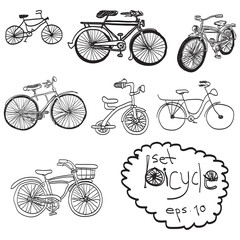 vector hand drawn set of bicycle, doodles