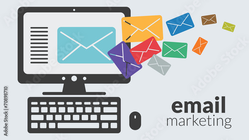 Business computer with email marketing. Vector advertising - 70898710