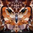 Owl head vector background geometric illustration