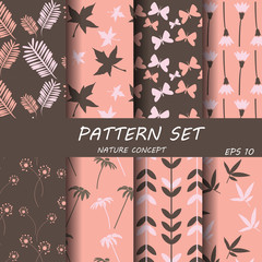 pink and brown nature patterrn set, vector