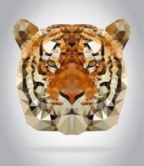 Tiger head vector isolated geometric illustration
