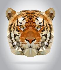 Tiger head vector isolated geometric illustration