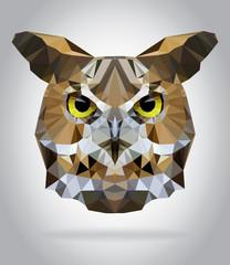 Owl head vector isolated geometric illustration