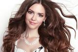 Fototapety Beauty fashion smiling girl model portrait. Long healthy Wavy ha