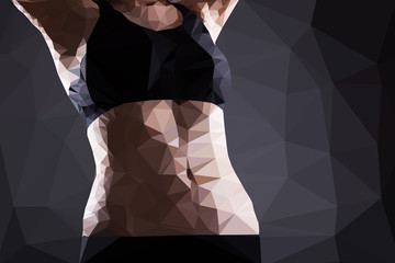 Fitness woman belly vector geometric modern illustration