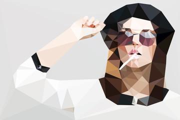 Fashion woman portrait vector geometric modern illustration