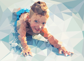Child portrait vector geometric modern illustration