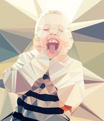 Child boy portrait vector geometric modern illustration