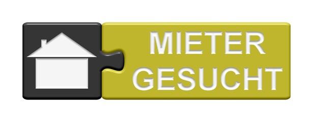 Puzzle Button grau gelb: Mieter gesucht