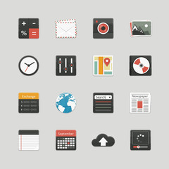 Set of user interface icons. Applications.