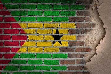 Dark brick wall with plaster - Sao Tome and Principe