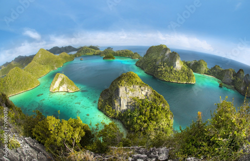 Fotobehang Indonesië Wayag Islands of Raja Ampat (Fish eye Version)