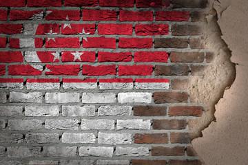 Dark brick wall with plaster - Singapore