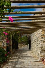 Campus monastery Profitis Ilias, Santorini island, Greece.