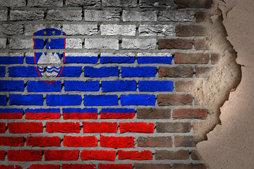 Dark brick wall with plaster - Slovenia
