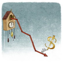 Dollar on financial graph cuckoo clock with negative results