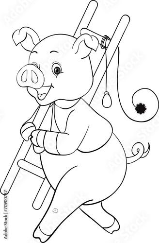 Ausmalbilder Wurst: Süßes Schornsteinfegerschwein