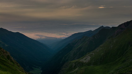 Fagaras mountains, sunset summer landscape time lapse