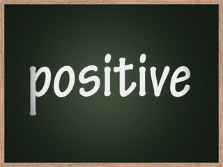 pizarra con palabra positiva