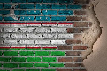 Dark brick wall with plaster - Uzbekistan