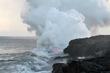 Glowing Lava and Steam in Ocean
