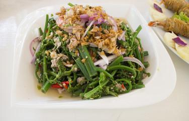 Vegetable fern spicy salad , Thai food