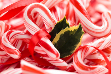 Holly and Candy Cane Background.