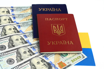Ukrainian foreign passport,  Ukrainian flag,  American dollars