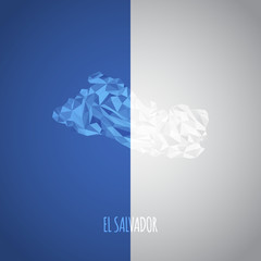 Low Poly El Salvador Map with National Colors