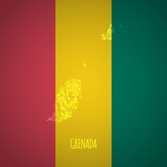 Low Poly Grenada Map with National Colors