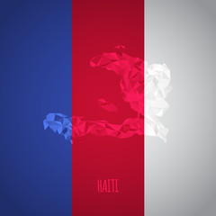 Low Poly Haiti Map with National Colors