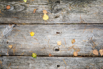 old wooden planks covered with leaves