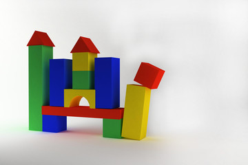 Toy castle from color blocks on a white background