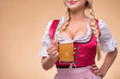 canvas print picture - Young sexy blonde wearing dirndl