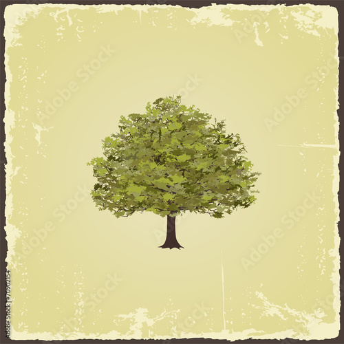 Naklejka Old tree on vintage paper. Vector illustration