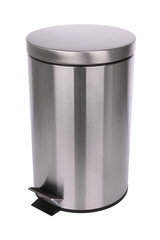 Top side of closed trash can on white background.