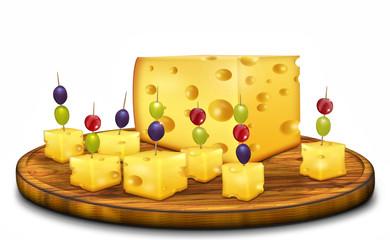 Käseplatte, Fingerfood, goldgelb, freigestellt mit Früchten