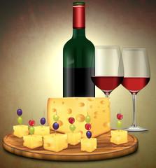 bunte Käseplatte mit Rotwein