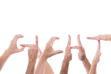 Viele Hände formen das Wort Gicht