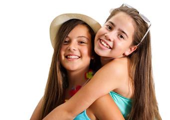 Two best friend girls having fun